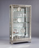 Aqua Pear Dynasty Deluxe Designer Curio Cabinet Solid Wood in Platinum Finish JPK3232