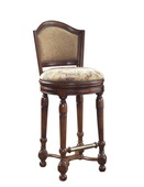 Aqua Pear Deluxe Luxury Wooden Bar Stool Traditional Style Dark Rich Finish by Pulaski - JPK3936