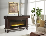 Pulaski Luxury Dark Wood Bar with Electric Fireplace - JPK3479