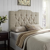 Aqua Pear Deluxe Full/Queen Panel Headboard Tufted Linen by Pulaski - JPK3461
