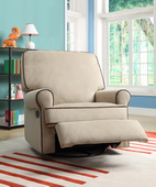 Aqua Pear Birch Hill Deluxe Swivel Glider Recliner Stella Doe w/Coffe Piping by Pulaski - JPK3476