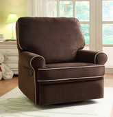 Aqua Pear Birch Hill Deluxe Swivel Glider Recliner Stella Coffee w/Doe Piping - JPK3477