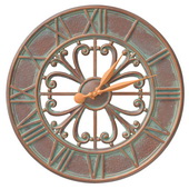 Aqua Pear 21in Indoor Outdoor Wall Clock Copper Vedigris - JWH1120