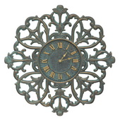 Aqua Pear 21in Indoor Outdoor Wall Clock Bronze Verdigris - JWH1050