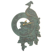 Peacock Indoor Outdoor Wall Clock Bronze Verdigris - JWH1160