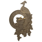 Peacock Indoor Outdoor Wall Clock French Bronze - JWH1170