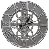 Aqua Pear 21in Indoor Outdoor Gear Wall Clock Pewter Silver Finish - JWH1030