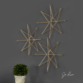 Gold Stars Wall Art Set of 3