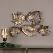 Bronze Leaves Wall Art Set of 5 - LUT4699