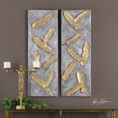Falling Feathers Gold Wall Art Set of 2 - LUT4707