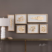 Golden Leaves Shadow Box Set of 6 - LUT4709