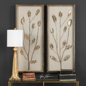 Branching Out Gold Leaf Panels Set of 2 - LUT4755