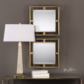Allick Gold Square Mirrors Set of 2 - LUT4899