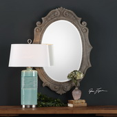 Serafina Aged Scroll Oval Mirror - LUT4909