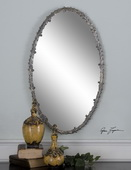 Costano Silver Leaf Oval Mirror  - LUT6584
