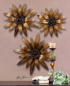 Golden Gazanias Metal Wall Art  - LUT7583