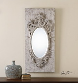 Guardia Gray-Ivory Oval Mirror - LUT1295