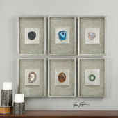Agate Stone Silver Wall Art S/6 - LUT1363