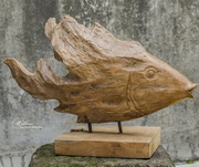 Teak Fish Sculpture  - LUT7965