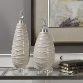 Romeo Crackled Light Gray Finials Set of 2 - LUT5221