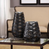 Kapil Tortoise Shell Vases Set of 2 - LUT5247