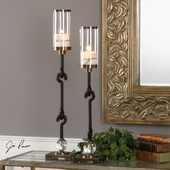 Sabal Coffee Bronze Candleholders Set of 2 - LUT5289