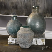 Mercede Weathered Blue-Green Vases Set of 3 - LUT5317