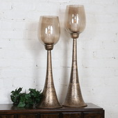 Badal Antiqued Gold Candleholders Set of 2 - LUT5323