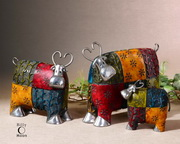 Colorful Cows Metal Figurines  - LUT7993