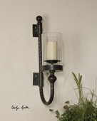 Garvin Twist Metal Sconce With Candle  - LUT8045