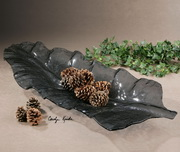 Smoked Leaf Glass Tray  - LUT8227