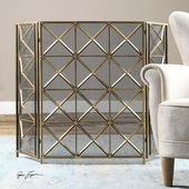 Akiva Champagne Fireplace Screen - LUT1541