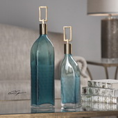 Annabella Teal Glass Bottles Set of 2