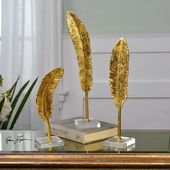 Feathers Gold Sculpture Set of 3