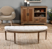 Leggett Tufted White Bench - LUT1763