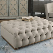 Kaniel Tufted Antique White Ottoman - LUT1861