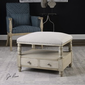 Bailor White Canvas Bench - LUT5577