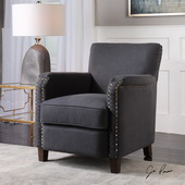 Finchly Deep Gray Armchair - LUT5595