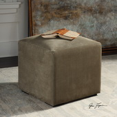 Graves Gray Leather Ottoman - LUT5637