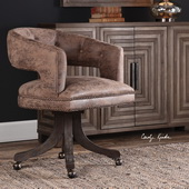 Waylon Cocoa Brown Swivel Chair - LUT5643