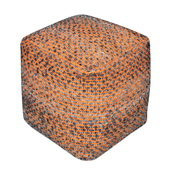 Valda Orange Wool Pouf - LUT5693