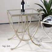 Marta Antiqued Silver Side Table