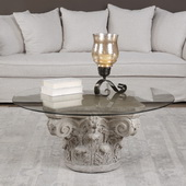 Corinthian Aged Stone Accent Table - LUT5729