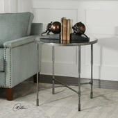 Vande Aged Steel Accent Table - LUT5823