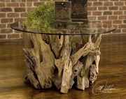 Driftwood Glass Top Cocktail Table  - LUT7877