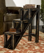 Asher Black Stepped Accent Table  - LUT7879