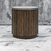Maxfield Wooden Drum Accent Table - LUT5895