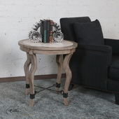 Blanche Travertine Lamp Table - LUT6011