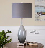 Vallo Smoke Gray Glass Lamp - LUT2365