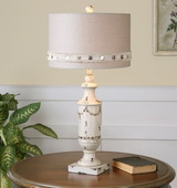 Lacedonia Distressed Ivory Lamp - LUT2397